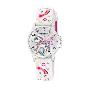 Reloj Calypso Junior Collection Niña K5776-4 Unicornio correa blanca