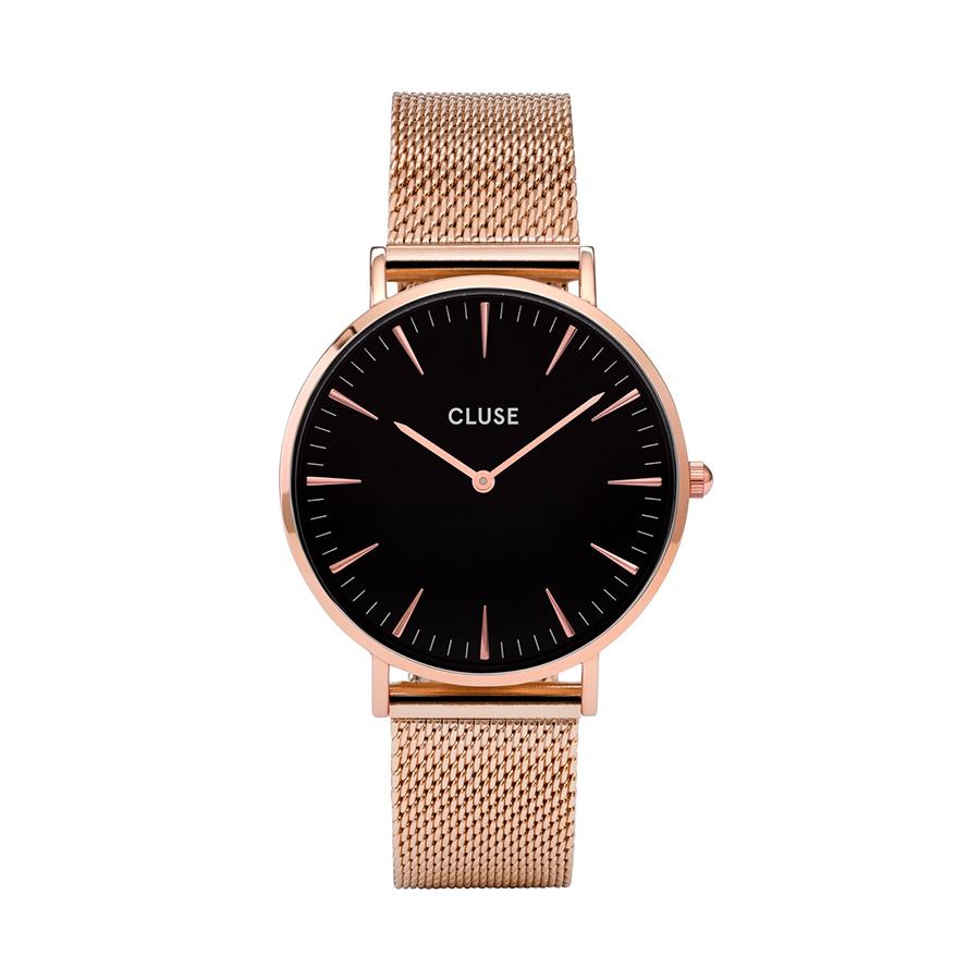 Reloj CLUSE La Boheme Mujer CW0101201003 Acero rosado esfera negra