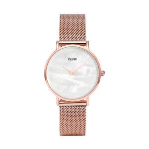 Reloj CLUSE Minuit Mujer CL30047 Milanesa rosa esfera blanco roto