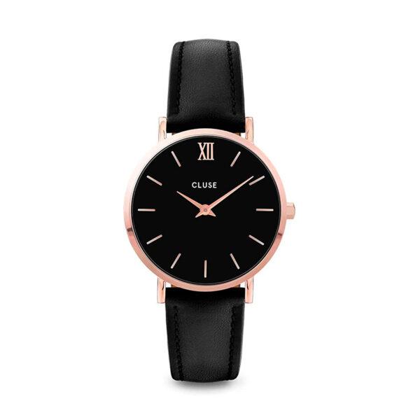Reloj CLUSE Minuit Mujer CW0101203013 Oro rosa piel negra