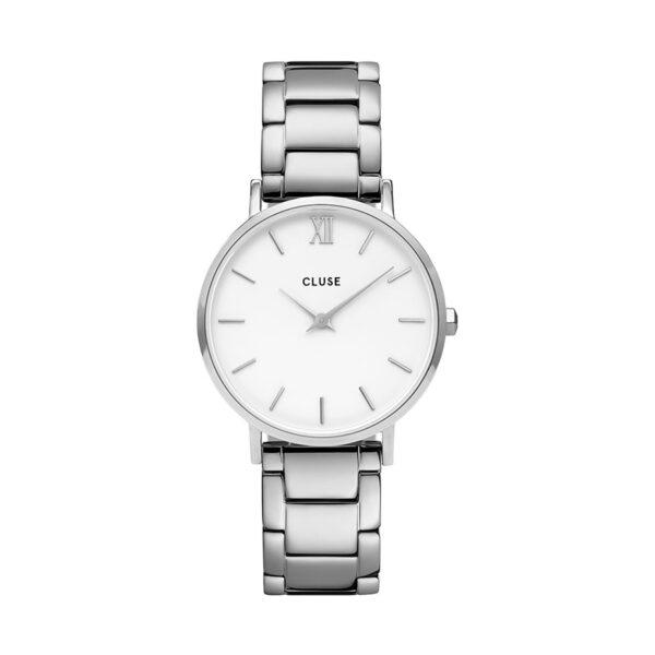 Reloj CLUSE Minuit Mujer CW0101203026 Analógico de cuarzo con correa de acero y esfera blanca