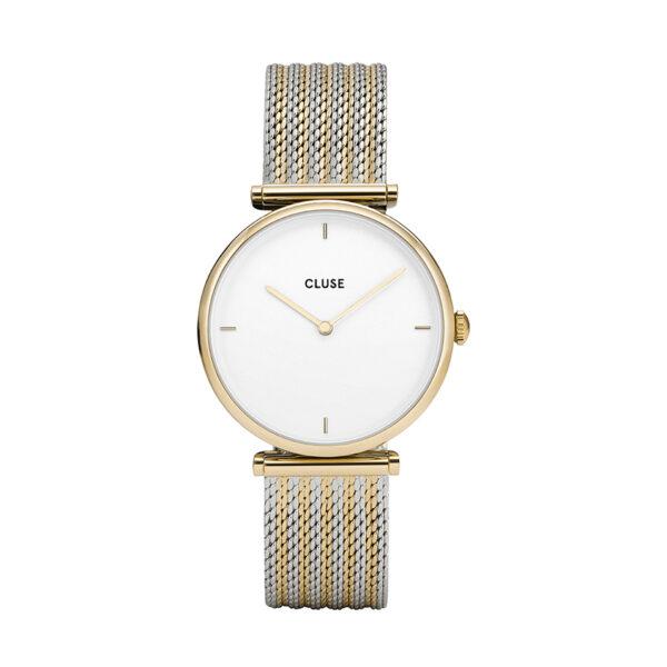 Reloj CLUSE Triomphe Mujer CL61002 Analógico esfera blanca correa bicolor