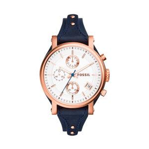 Reloj Fossil Boyfriend Mujer ES3838 Rosado correa piel azul