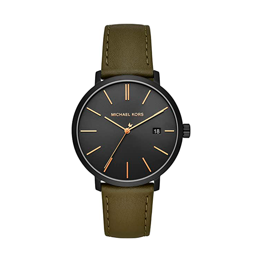 Reloj Michael Kors Blake Mujer MK8676 Acero negro tres agujas calendario correa piel verde