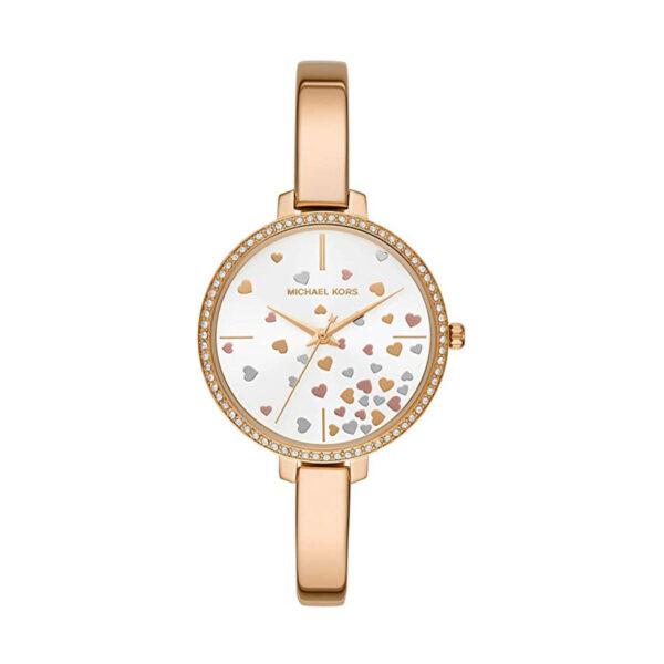Reloj Michael Kors Jaryn Mujer MK3977 Acero dorado con esfera decorada con motivos de corazón y bisel con piedras