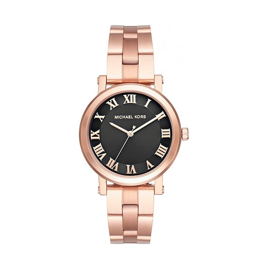 Reloj Michael Kors Norie Mujer MK3585 Acero rosado esfera negra índices romano