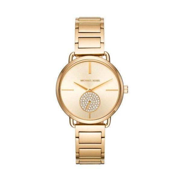 Reloj Michael Kors Portia Mujer MK3639 Acero dorado con dial indicador de segundos y piedras incrustadas