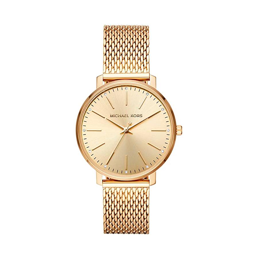 Reloj Michael Kors Pyper Mujer MK4339 Acero dorado esfera decorada con piedras en cada índice y correa malla acero