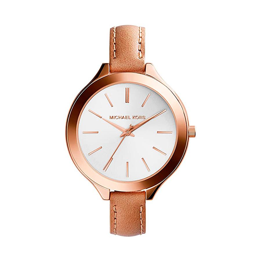 Reloj Michael Kors Slim Runway Mujer MK2284 Acero rosado tres agujas con correa piel marrón y esfera blanca