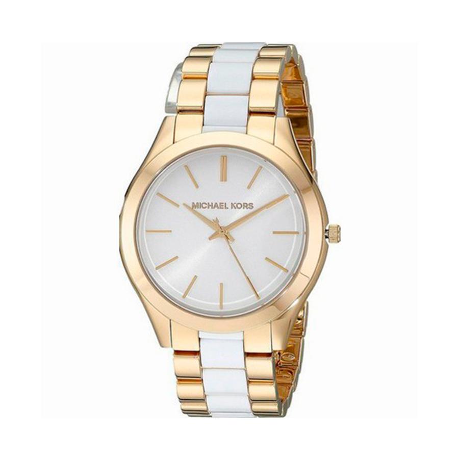 Reloj Michael Kors Slim Runway Mujer MK4295 Acero dorado y resina blanca tres agujas