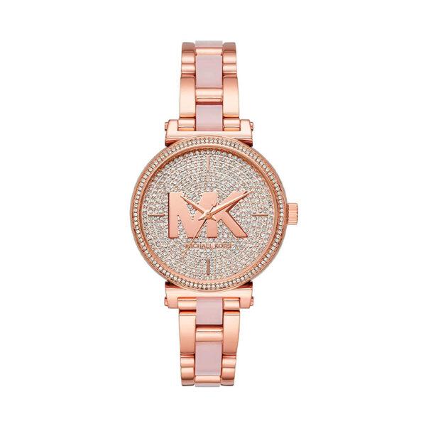 Reloj Michael Kors Sofie Mujer MK4336 Acero rosado bisel y esfera con piedras incrustadas