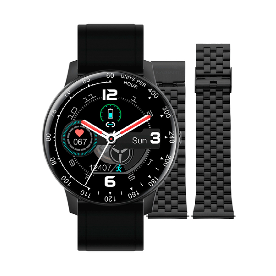 Reloj Radiant Smartwatch Times Square Unisex RAS20401 Redondo correa negra