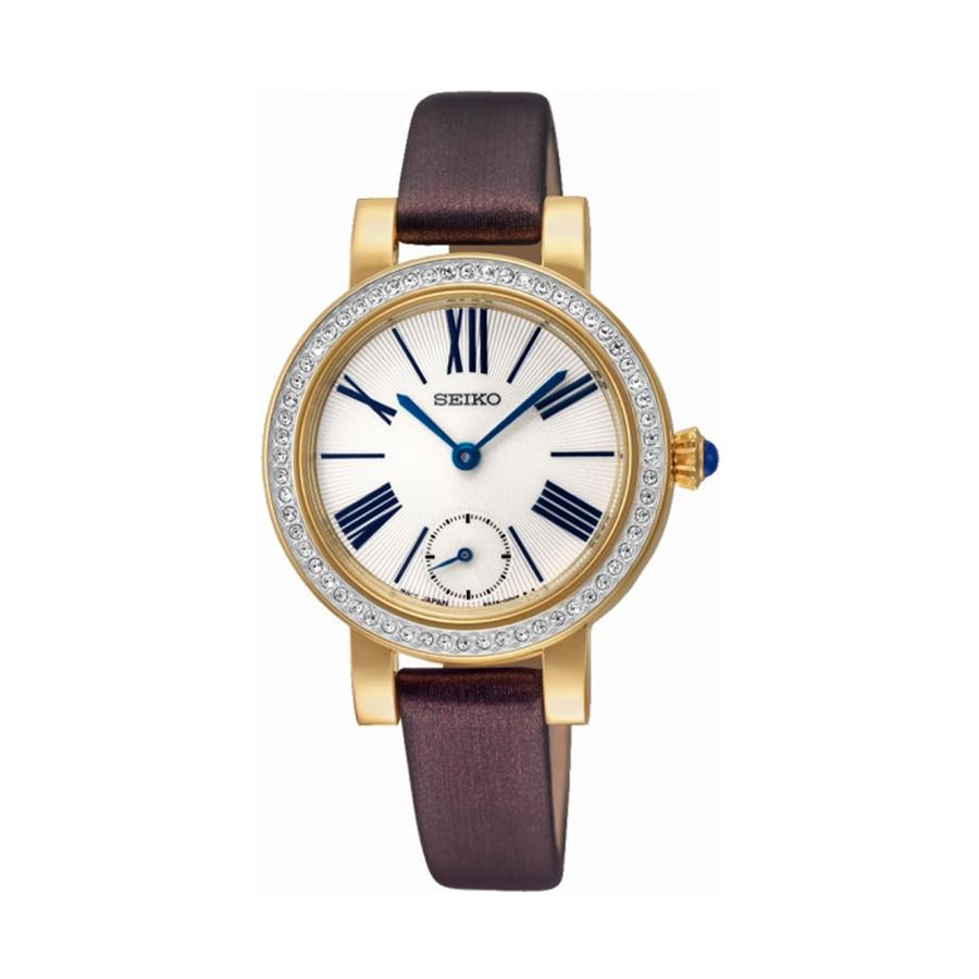 Reloj Seiko Classic Mujer SRK030P1 Acero dorado esfera blanca cristal Swarovski en bisel y correa piel marrón