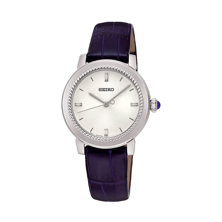 Reloj Seiko Classic Mujer SRZ451P1 Acero esfera blanca y correa de piel negra