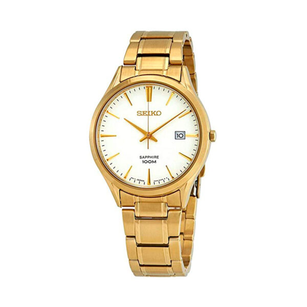 Reloj Seiko Neo Classic Hombre SGEH72P1 Acero dorado esfera blanca con calendario