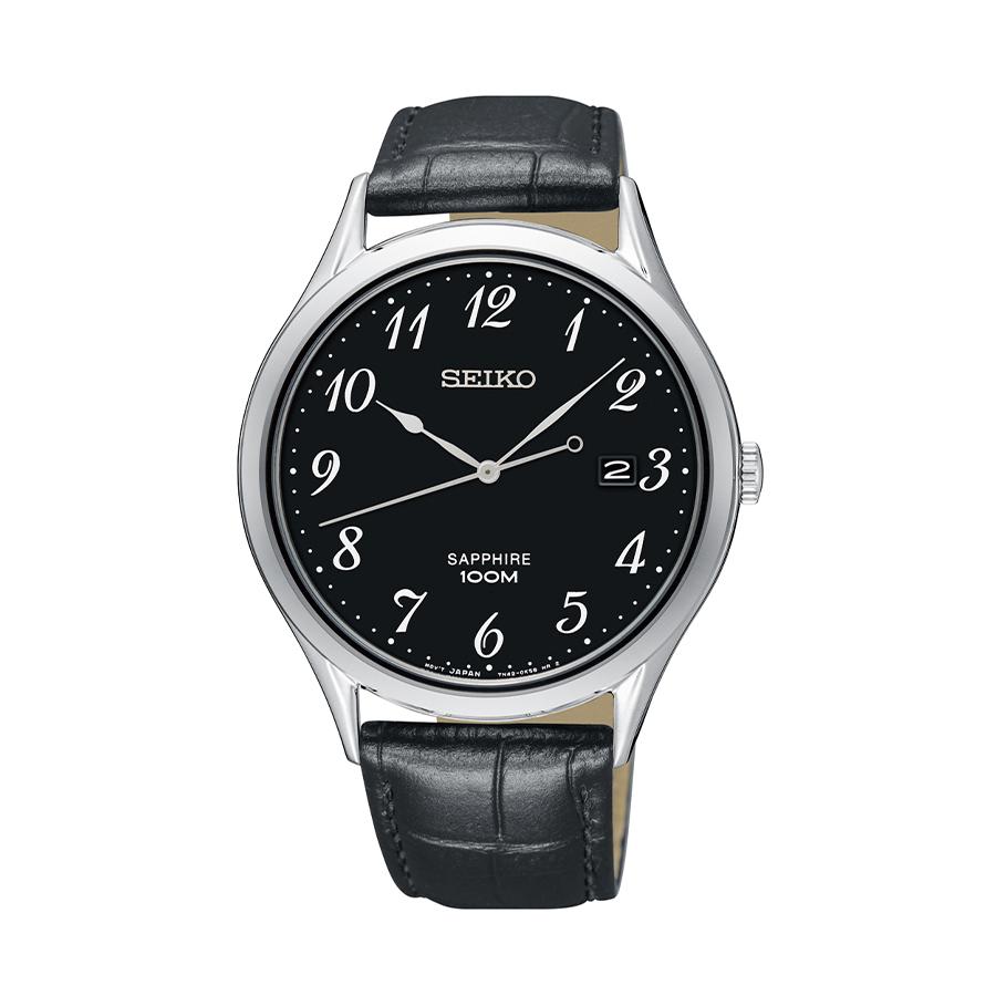 Reloj Seiko Neo Classic Hombre SGEH77P1 Acero esfera negra con calendario y correa piel negra