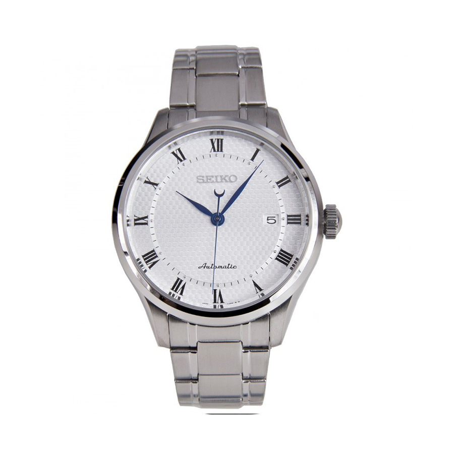 Reloj Seiko Neo Classic Hombre SRP767K1 Acero tres agujas esfera blanca con calendario