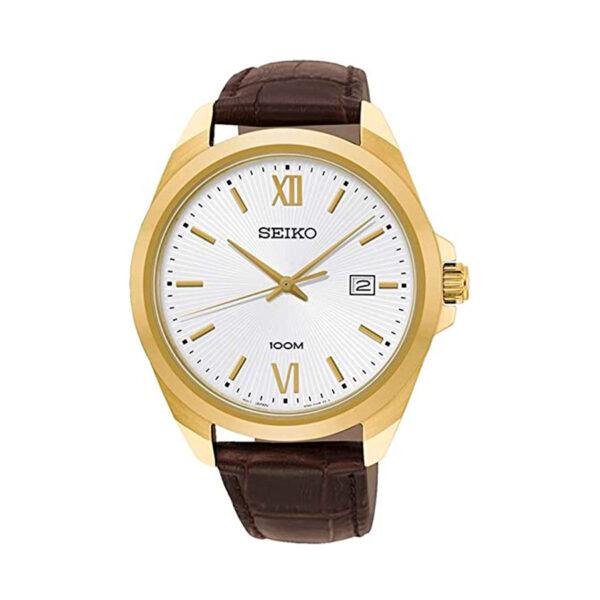 Reloj Seiko Neo Classic Hombre SUR284P1 Acero dorado con esfera blanca y calendario