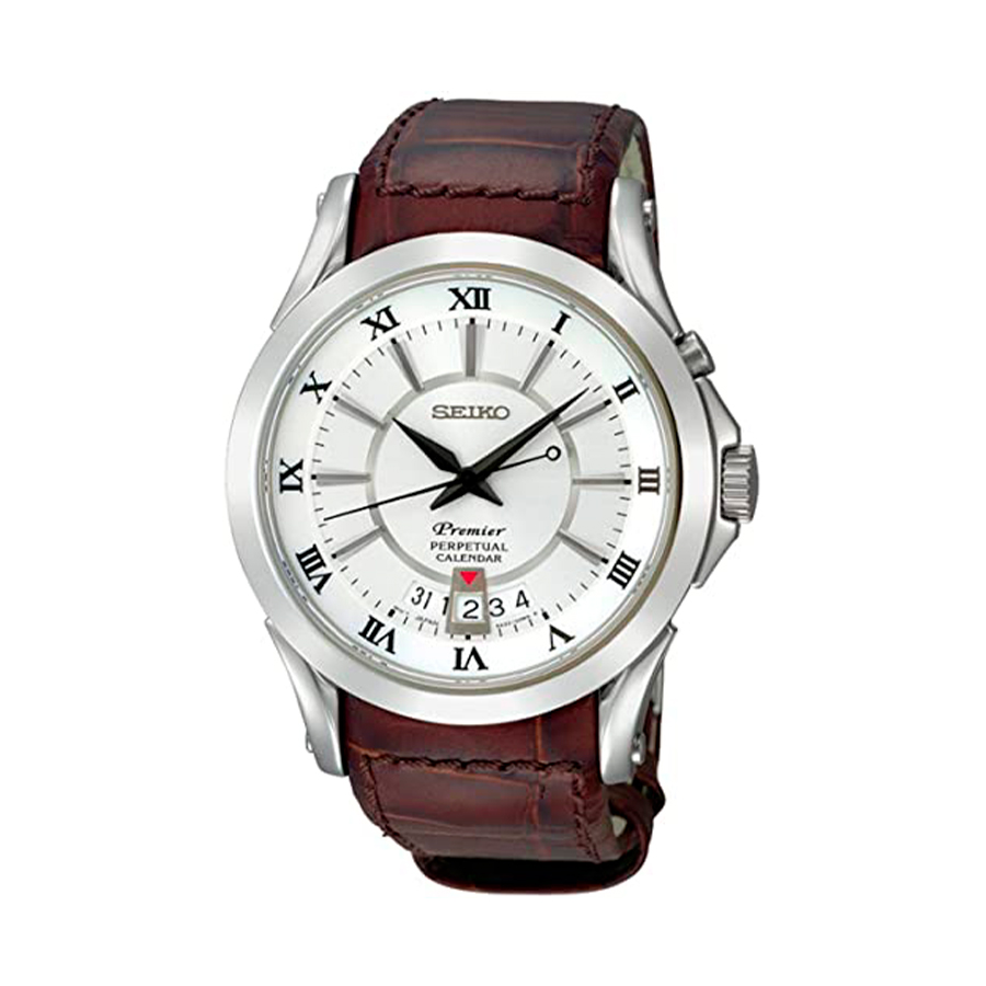Reloj Seiko Premier Hombre SNQ105P1 Acero con esfera blanca calendario perpétuo