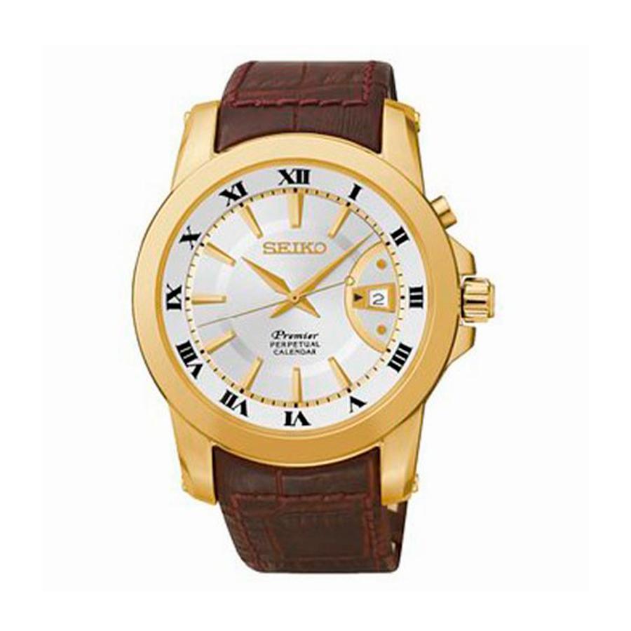 Reloj Seiko Premier Hombre SNQ144P1 Acero dorado esfera blanca calendario perpétuo y correa piel marrón