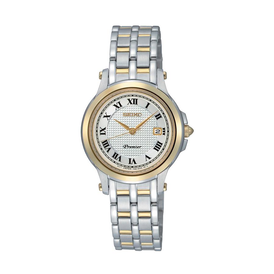 Reloj Seiko Premier Mujer SXDE02P1 Acero bicolor dorado y plata con esfera blanca y calendario
