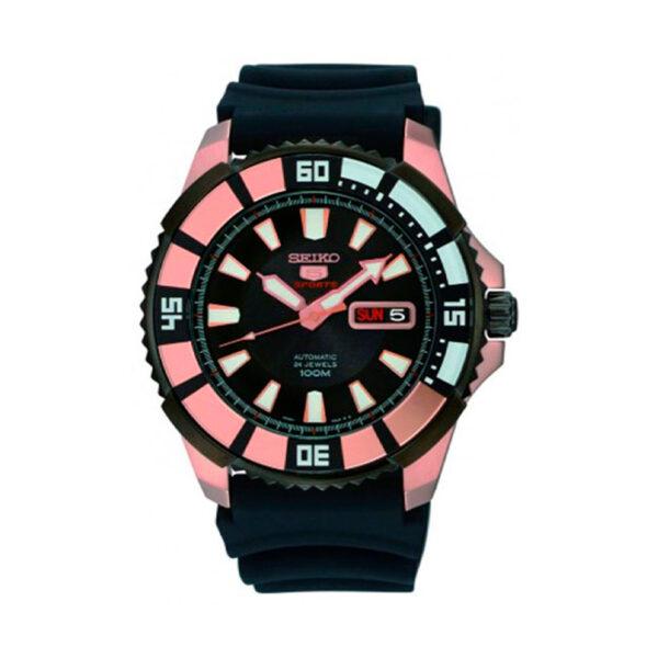 Reloj Seiko Sports Hombre SRP210K1 Acero esfera negra con detalles rosado y calendario neón