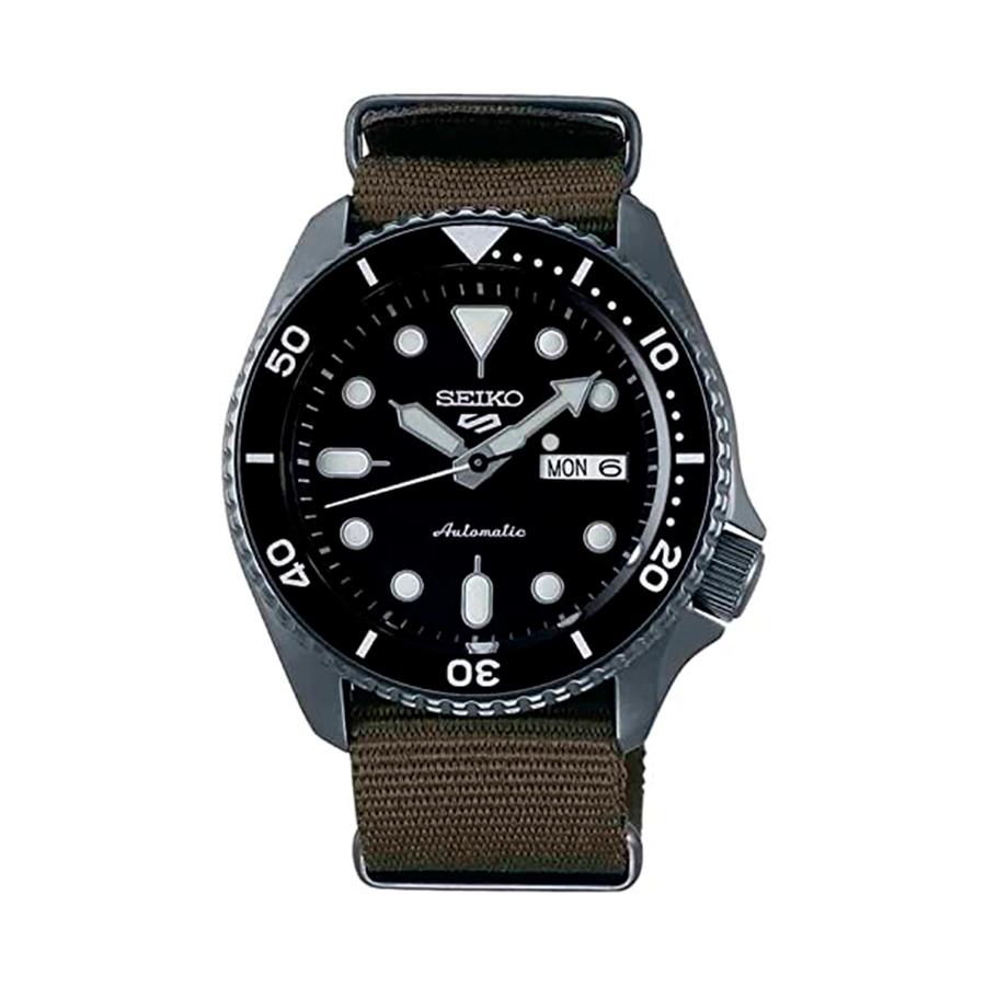 Reloj Seiko Sports Hombre SRPD65K4 Acero esfera negra con calendario y correa nylon verde