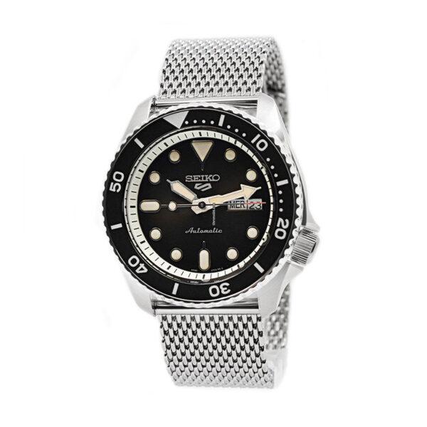 Reloj Seiko Sports Hombre SRPD73K1 Acero esfera negra con calendario y correa malla milanesa