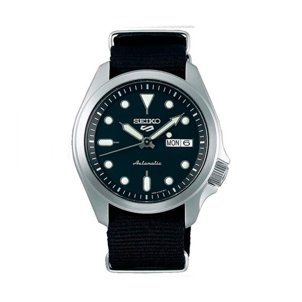 Reloj Seiko Sports Hombre SRPE67K1 Acero esfera negra con calendario y correa nylon negra
