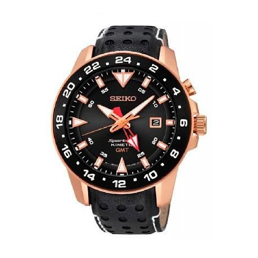 Reloj Seiko Sportura Kinetic Hombre SUN028P1 Acero rosado con esfera negra indicadores neón y calendario