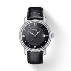 Reloj Tissot Bridgepot Hombre T0974101605800 Calendario esfera negra y correa piel negra