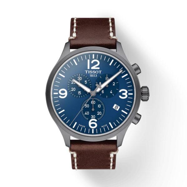 Reloj Tissot Chrono XL Hombre T1166173604700 Acero esfera azul correa marron piel