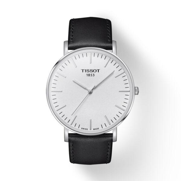 Reloj Tissot Everytime Hombre T1096101603100 Acero esfera blanca y correa de piel negra