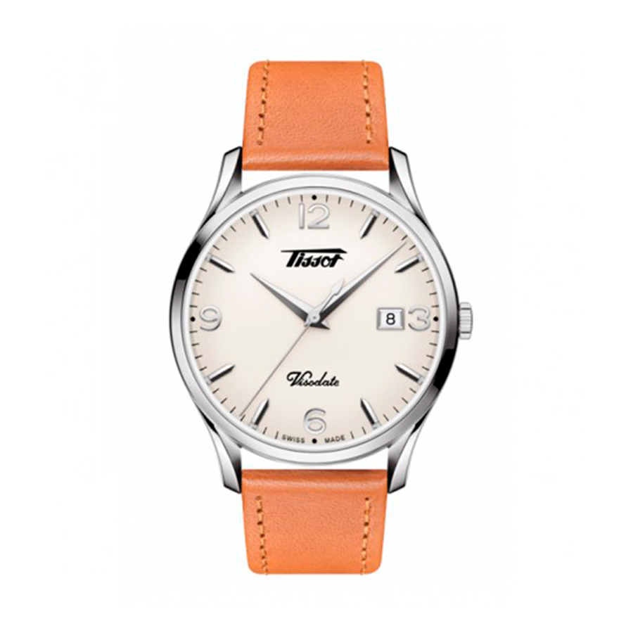 Reloj Tissot Heritage Hombre T1184101627700 Visodate esfera blanca y correa marron