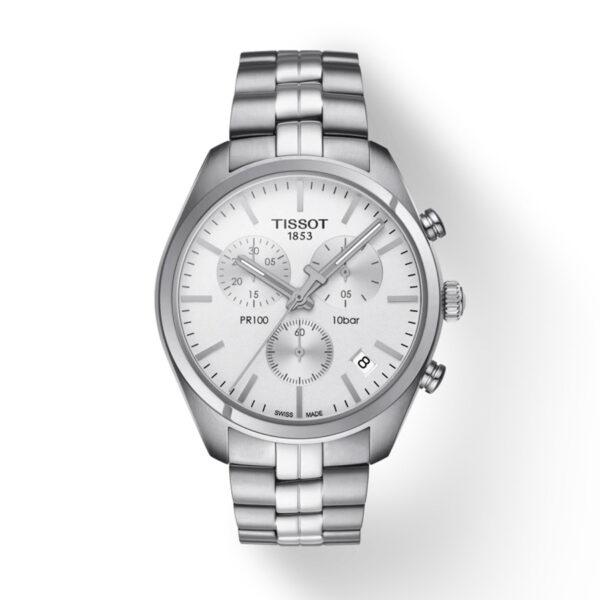 Reloj Tissot PRC 100 Hombre T1014171103100 Crono esfera blanca y correa de acero