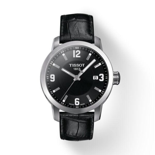 Reloj Tissot PRC 200 Hombre T0554101605700 Calendario esfera negra y correa de piel negra