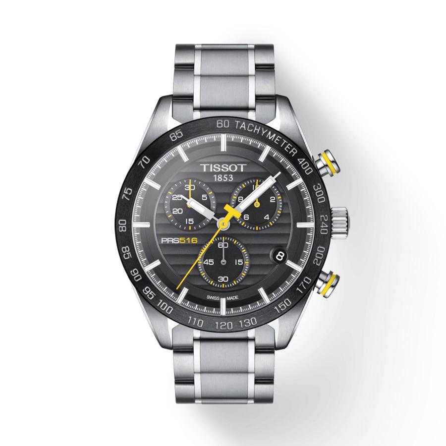 Reloj Tissot PRS 516 Hombre T1004171105100 Acero esfera negra y amarilla con correa de acero