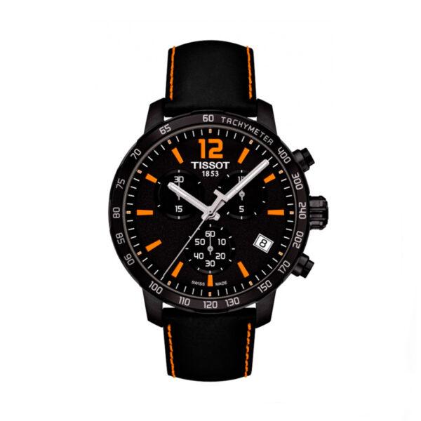 Reloj Tissot Quickster Hombre T0954173605700 Crono esfera negra-naranja y correa de piel negra