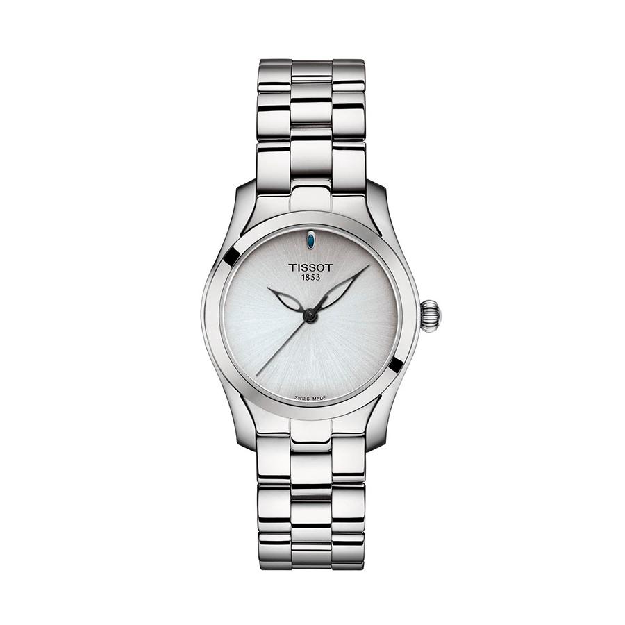 Reloj Tissot T-Wave Mujer T1122101103100 Acero esfera blanca nacarada y correa de acero