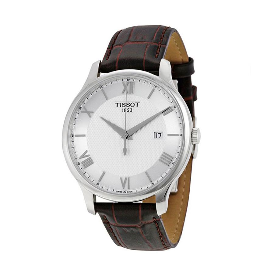 Reloj Tissot Tradition Hombre T0636101603800 Calendario esfera blanca y correa marron