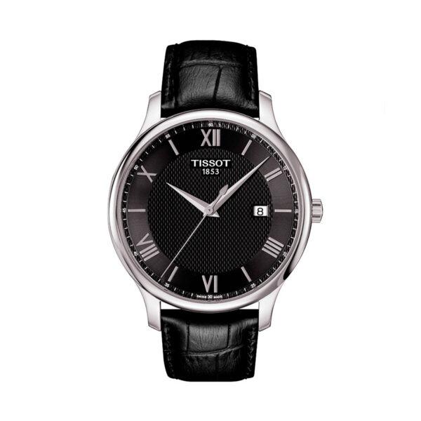 Reloj Tissot Tradition Hombre T0636101605800 Calendario esfera negra y correa piel negra