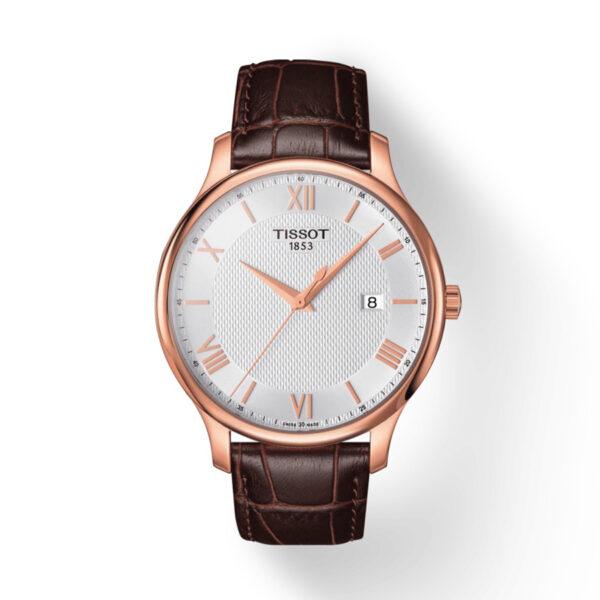Reloj Tissot Tradition Hombre T0636103603800 Calendario rosado y correa piel marron