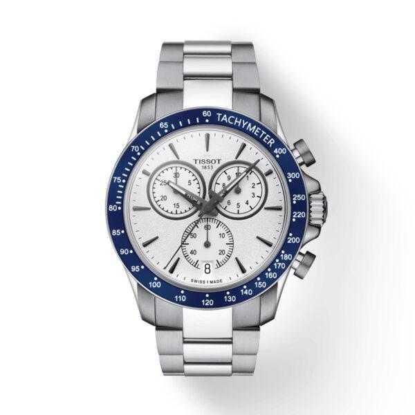 Reloj Tissot V8 Hombre T1064171103100 Acero esfera blanco con bisel azul y correa de acero