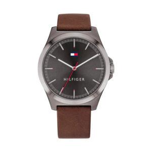Reloj Tommy Hilfiger Barclay Hombre 1791717 Esfera gris correa piel marrón