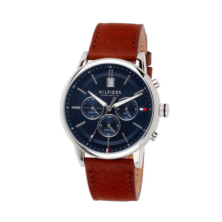 Reloj Tommy Hilfiger Kyle Hombre 1791629 Esfera azul correa piel marrón