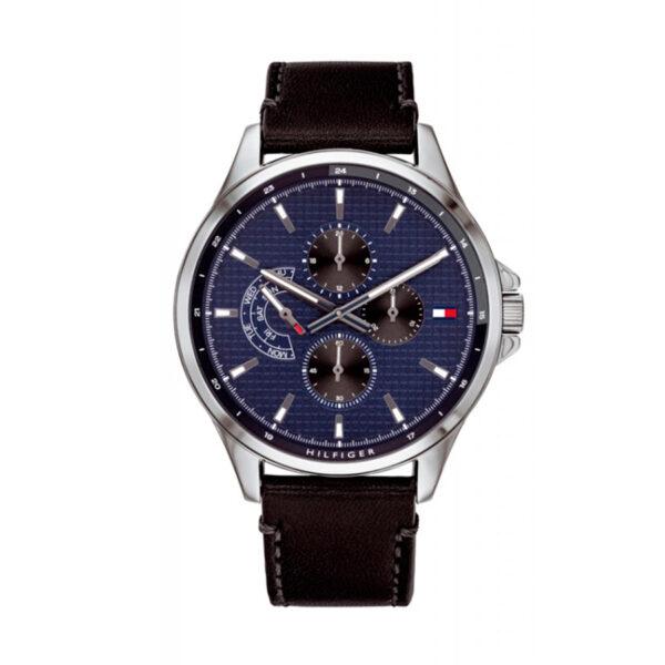 Reloj Tommy Hilfiger Shawn Hombre 1791616 Esfera azul correa de piel negra