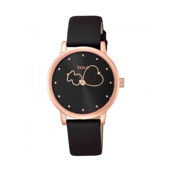 Reloj Tous Bear Time Mujer 800350920 Rosado con correa de piel negra
