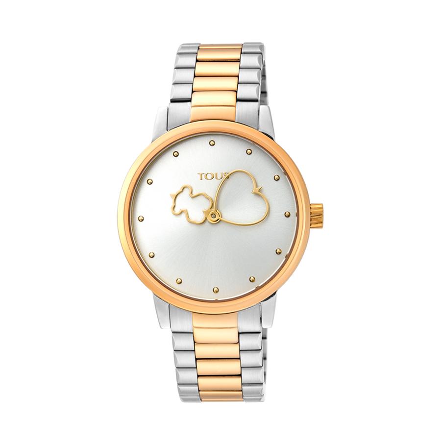 Reloj Tous Bear Time Mujer 900350310 Acero bicolor dorado con saetas motivos tous