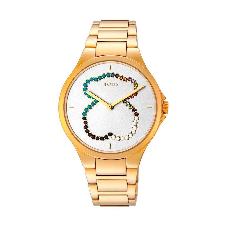 Reloj Tous Motion Mujer 900350330 Dorado con motivo oso multicolor en la esfera