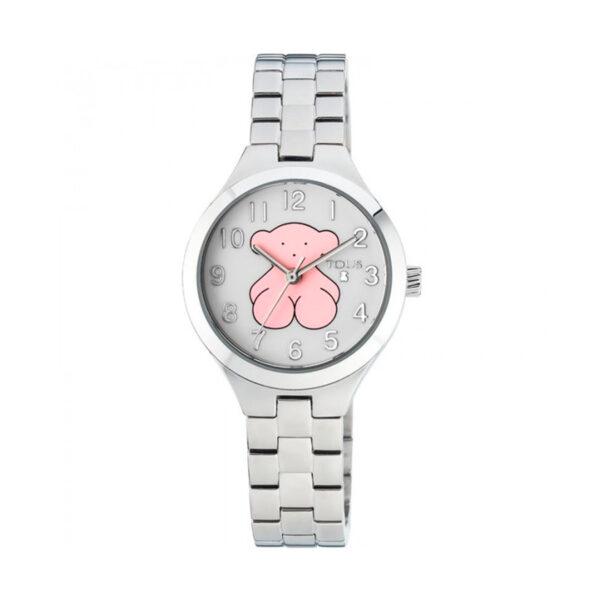 Reloj Tous Muffin Mujer 700350040 Acero esfera blanca con motivo oso rosa